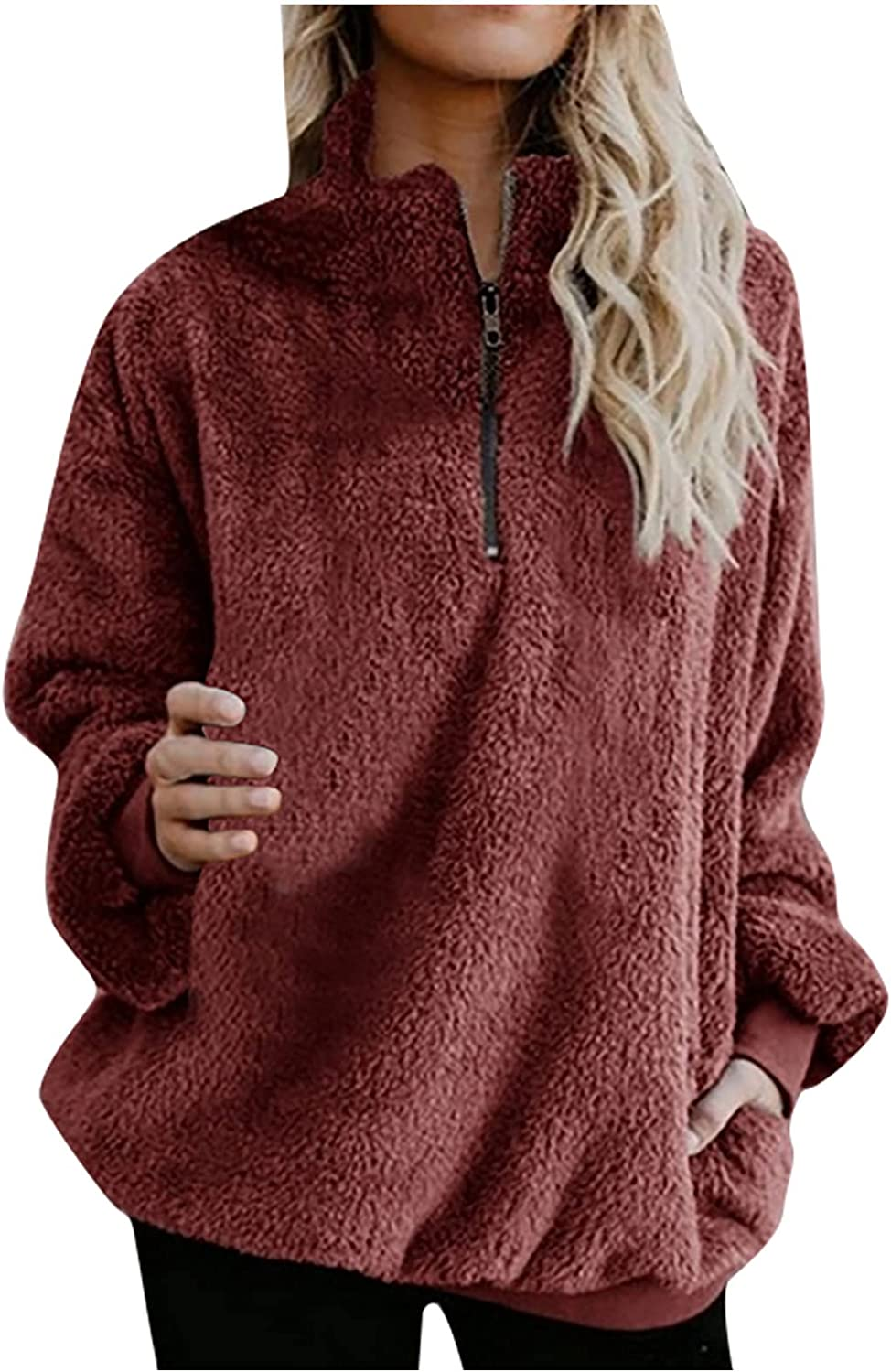 Womens Winter Coats,Women's Loose Zipper Pullover Tops Warm Plush Solid Color Casual Long Sleeve Ladies Soft Plus Size Blouse