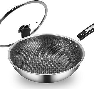 WOK en acier inoxydable nid d'abeille non huileuse non huileuse antiadhésif casquette pot de cuisson à induction cuisinièr...