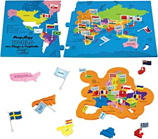 Imagimake: Mapology World With Flags & Capitals- With Country Shaped Pieces- Jigsaw Puzzle And Educational Toy for Boys An...