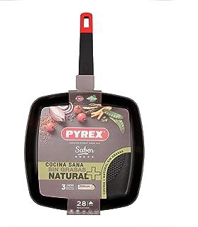 Pyrex 7914022 Sartén asador de aluminio, 28cm, Inducción, relieve en el fondo, Antiadherente tricapa, Mango ergonómica, Estampado