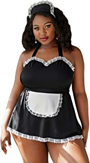 ROMWE Women's Plus Size Lingeire Sexy French Maid Outfit Stretchy Cosplay Lace Outfit Sets