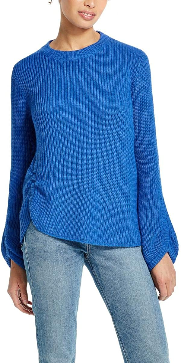 Weatherproof Womens Ruched Ribbed Pullover Sweater Blue M