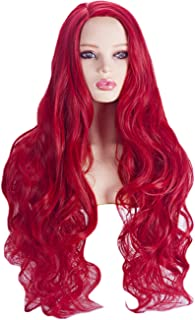 Angelaicos Women's Long Red Wig Wavy Culry Party Cosplay Halloween Costume Wigs (Curly Style)