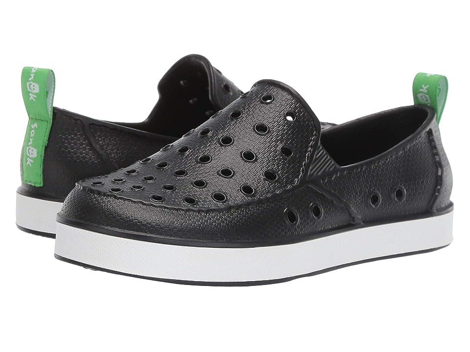 Sanuk Kids Lil Walker (Little Kid/Big Kid) (Black/White) Kids Shoes