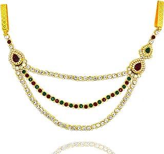 Aashya Mayro Gold Plated Maroon, Green and White Stone Kundan Work Kamarband Challa Waist Key Chain Saree Chabi Challa for...