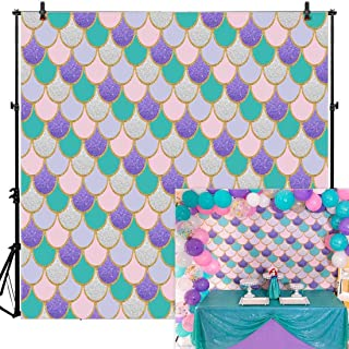 Allenjoy 8x8ft Mermaid Themed Backdrop for Party Photography Under The Sea Favors Newborn Baby Shower Purple Pink Scales Girl Princess Glare Glitter Birthday Decorations Banner Photo Supplies Booth