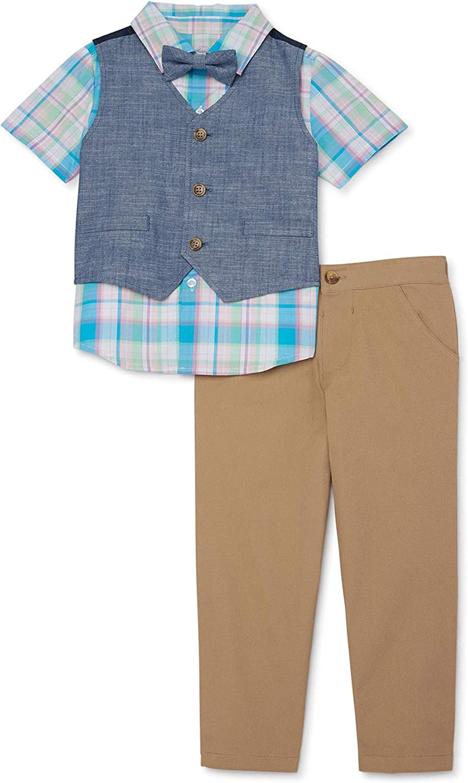 Toddler Boys Woven Shirt, Vest, Khaki Pants & Bowtie, 4-Piece Dressy Christmas/Easter Outfit Set
