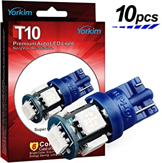 Yorkim 194 LED Bulbs Blue 6000k Super Bright Newest 5th Generation Universal Fit Pack of 10, T10 LED Bulbs, Blue 194 LED Bulb, 168 LED Bulb, 2825 LED Bulb, W5W LED Bulb, LED Interior Lights for Car