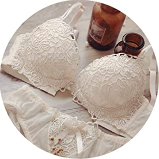eed82c0e55bb Elegant Lady Bra Set Sexy Embroidery Adjusted Underwear Women Flower Padded  Bra Briefs Set,Beige