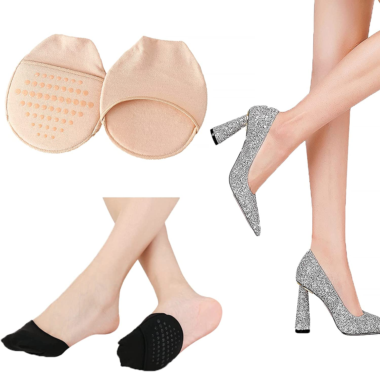 Ball of Foot Cushion Socks Seamless Toe Topper Socks Half forefoot socks Non-Slip Pain Relief Sponge Toe Half Socks