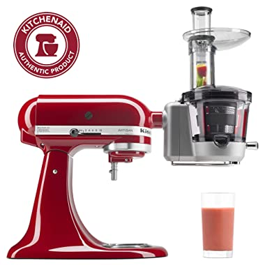 KitchenAid KSM1JA Masticating Juicer and Sauce Attachment, 1L, Silver