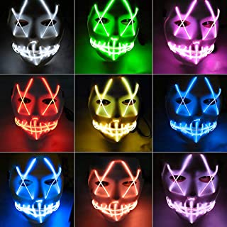 LED Costume Mask Light Up Mask Fork Eye Seam Luminous Mask Luminous Scary Mask Halloween Cosplay For Festival Party - Pink