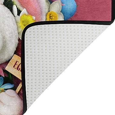 Mydaily Bunny Rabbit Flower Easter Doormat 15.7 x 23.6, Living Room Bedroom Kitchen Bathroom Decorative Lightweight Foam Prin
