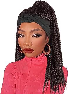 LEOSA Cornrow Braided Headband Wigs for Black Women,Headband Braided Wig with Headband Attached Knotless Box Braided Wigs ...