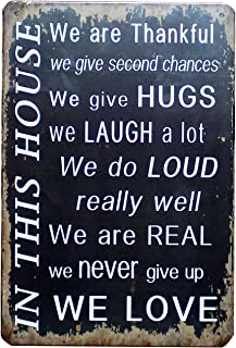 UOOPAI in This House We are Thankful Give Hugs Laugh Never Give Up We Love, Vintage Tin Sign Metal Wall Plaque, Art Poster Home Decor