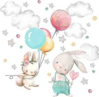 Little Deco Muursticker babykamer hazen & ballon I muurschildering 123 x 82 cm (B x H) I sterren wolken stickers kinderkam...
