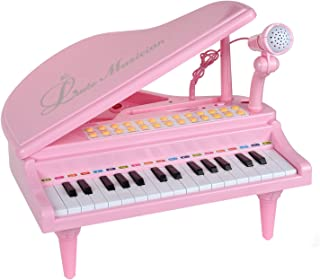 31 Keys Little Pink Piano for Girls with Microphone