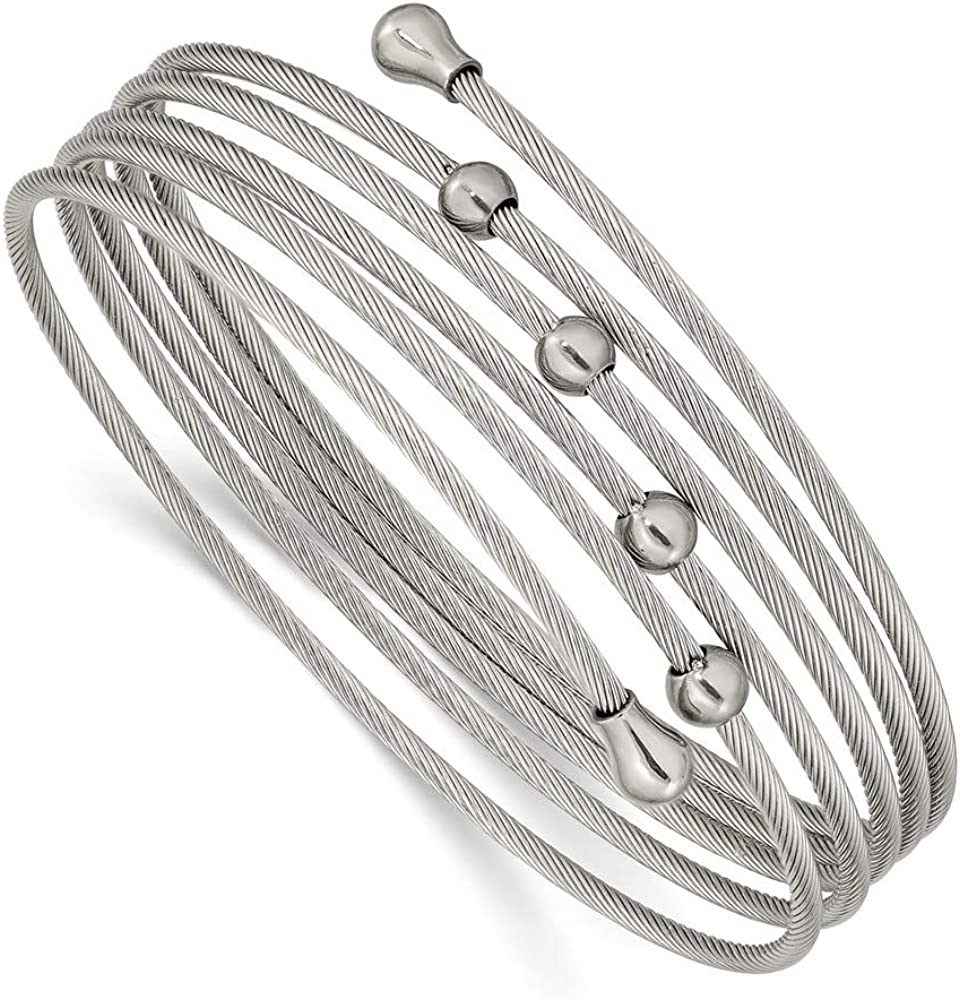 Solid Stainless Steel Flexible Coil Bangle Cuff Bracelet (Width = 4mm)