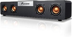 Foxnovo Bluetooth Computer Speakers Desktop: 20W Mid-Treble Boost PC Soundbar USB Powered Wired & Wireless Gaming Speakers Wooden Cavity Wireless Loud Speakers for Laptops|PC|Desktop|Monitors (Gold)