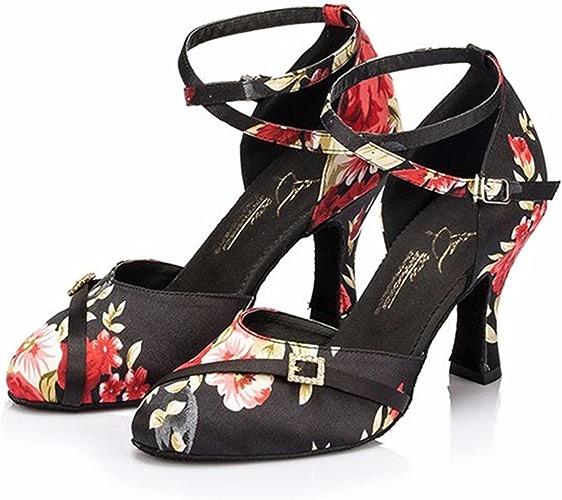 Masocking@ Femme Chaussures de Danse Sandales Boucle à la cheville,chaussures de danse carré
