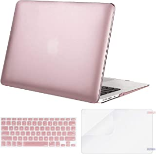 MOSISO Plastic Hard Shell Case & Keyboard Cover & Screen Protector Only Compatible with MacBook Air 13 inch (Models: A1369 & A1466, Older Version 2010-2017 Release), Rose Gold