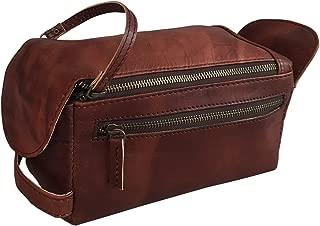 KOMAL Genuine Goat Leather Unisex Toiletry Bag Travel Dopp Kit