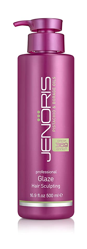 Jenoris Glaze Hair Sculpting 16.9oz/500ml Professional haircare products for women; Ideal for styling especially curls while adding volume; Infused with rich pistachio oil for long lasting results