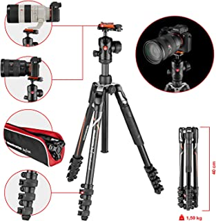 Manfrotto MKBFRLA-BH Befree Advanced - Trípode de Viaje Bloqueo por Palanca con rótula de Bola y Bolsa para cámaras sin Espejo Sony DSLR CSC Carga máxima 8 kg Aluminio Ligero Negro