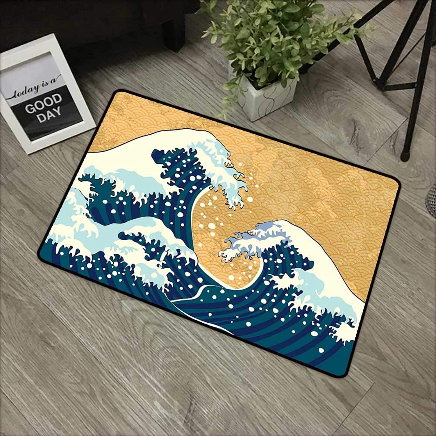 Meeting Room mat W24 x L35 INCH Japanese Wave,Sea Storm in Japan Traditional Drawing Foamy Great Waves,Earth Yellow Dark bluee White Easy to Clean, Easy to fold,Non-Slip Door Mat Carpet
