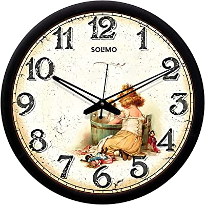 Amazon Brand - Solimo 12-inch Wall Clock - Baby Doll (Silent Movement, Black Frame)