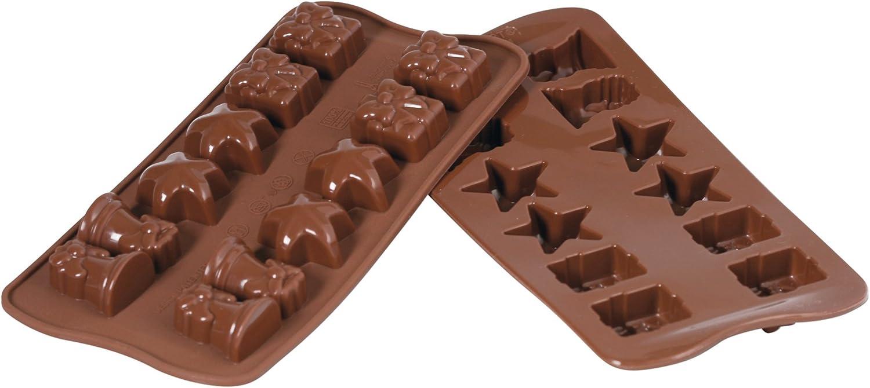 قالب سيليكون برالين من سيليكومارت لإعداد الشوكولاته بلاتيني ، بني