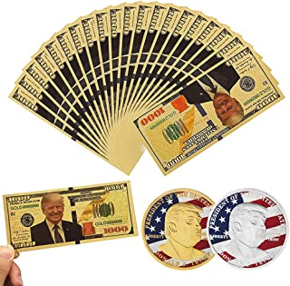 SUSHAFEN 10Pcs Donald Trump 2018 Gold Foil 1000 Dollar Bill Banknote,2 Pcs Gold and Silver Donald Trump Commemorative Challenge Coins President Donald Trump Novelty Collection Gift