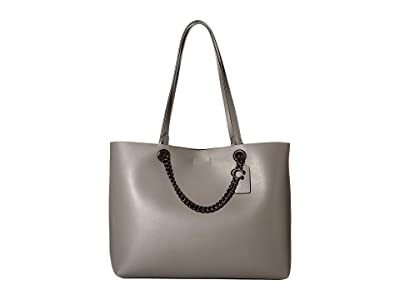 COACH Signature Chain Convertible Tote (Heather Grey/Pewter) Handbags