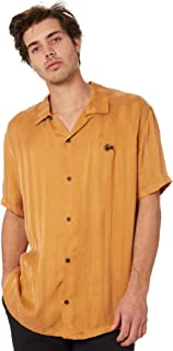 Stussy Men's Wilder Mens Ss Shirt Short Sleeve Polyester Rayon Yellow