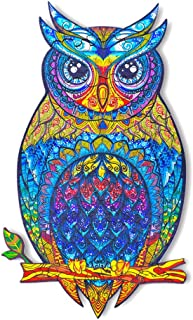 SOSO Wooden Jigsaw Puzzle - Owl Best Jigsaw Puzzle,Uniquely Shaped Jigsaw Pieces,Wooden Animal Shaped Puzzle Pieces Set - ...