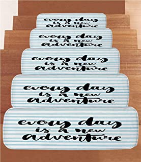 SoSung Adventure Coral Fleece Stair Treads,Stair Tread Mats,Every Day is a New Adventure Quote Inspirational Things About Life Artwork,(Set of 5) 8.6