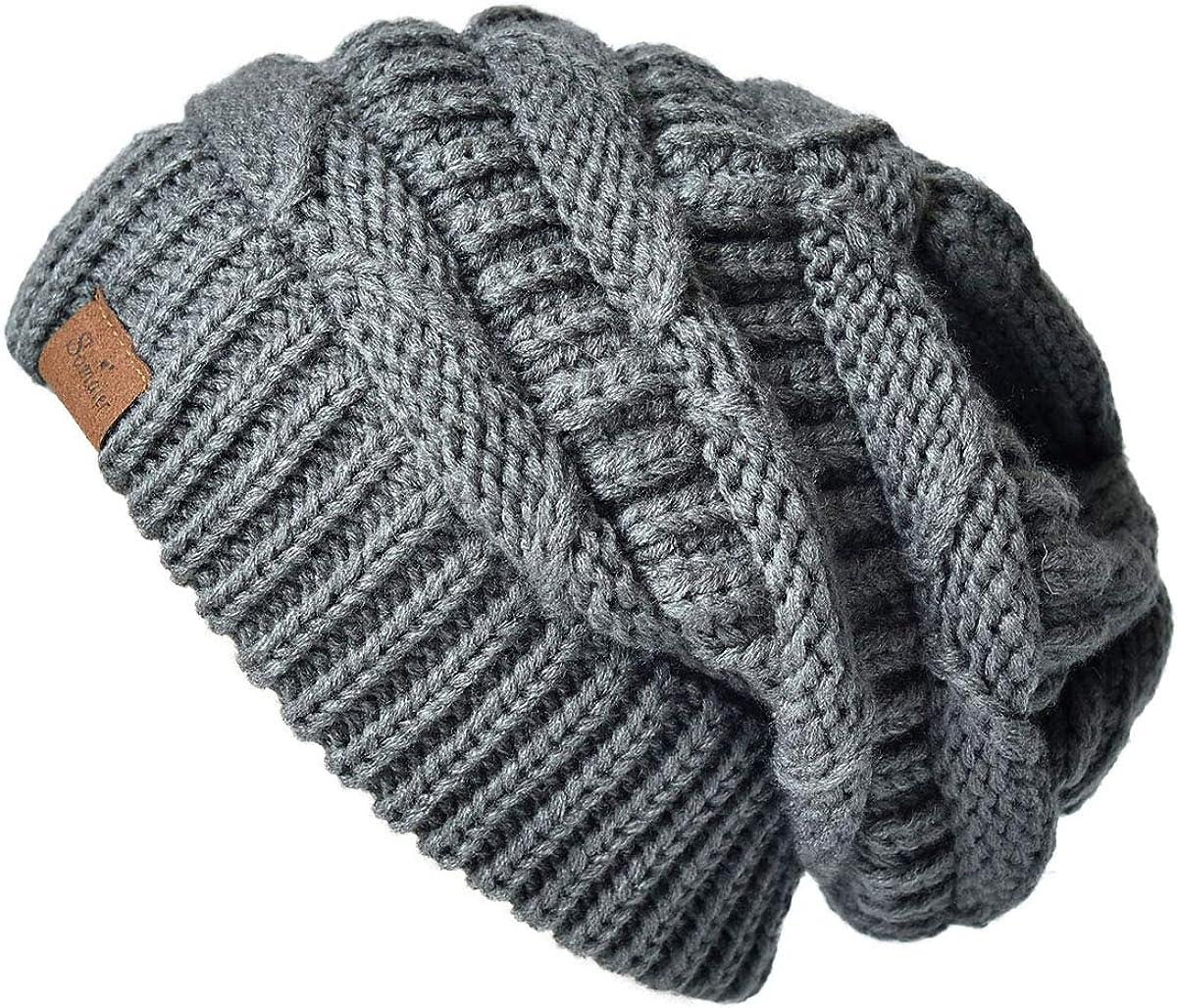 ENJOYFUR Womens Knit Slouchy Beanie Hat,Trendy Chunky Cable Knit Beanie,Oversized Winter Hats for Women