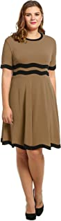 Meaneor Women Casual Short Sleeve Patchwork O Neck Pullover Flare Dress