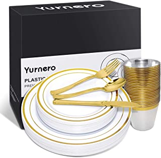 150 pcs Gold Plastic Plates for Parties Yurnero Disposable Silverware Set for Wedding Gathering Includes 25 Dinner Plates, 25 Dessert Plates, 25 Cups, 25 Forks, 25 Knives, 25 Spoons