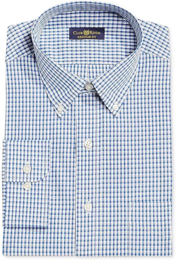Club Room Men's Regular Fit Dress Shirt, Royal Blue Check, 14.5 32/33