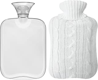 Attmu Classic Rubber Transparent Hot Water Bottle 2 Liter with Knit Cover - White