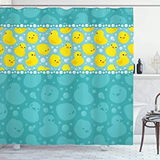 Ambesonne Rubber Duck Shower Curtain, Yellow Cartoon Duckies Swimming in Water Pattern with Fun Bubbles Aqua Colors, Cloth Fabric Bathroom Decor Set with Hooks, 70
