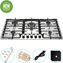 35 inches Gas Cooktop 5 Burners Gas Stove gas hob stovetop Stainless Steel Cooktop 5 Sealed Burners Cast Iron Grates Built...