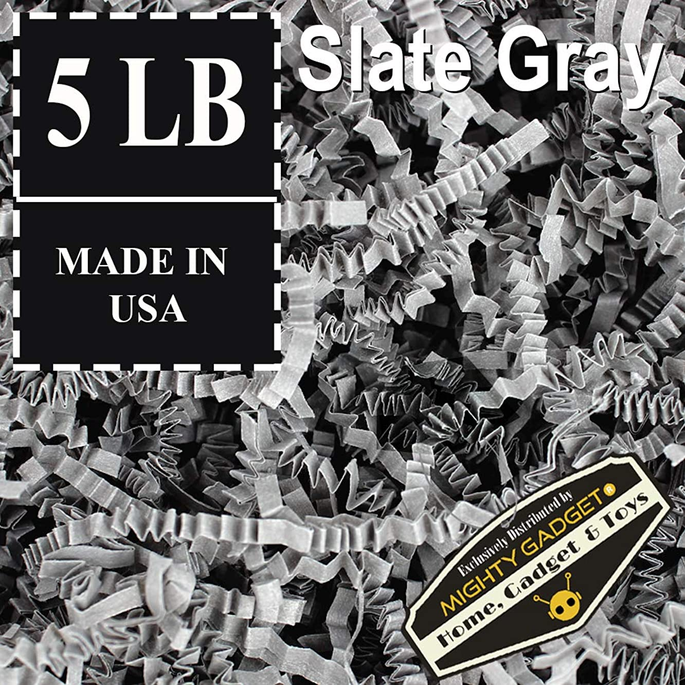 Mighty Gadget (R) 5 LB Dark Slate Gray Crinkle Cut Paper Shred Filler for Gift Wrapping & Basket Filling
