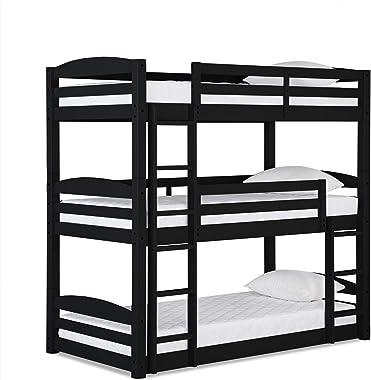 Dorel Living Sierra Triple Floor Bunk Bed in Black