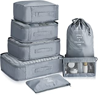Packing Cubes For Travel, VAGREEZ 7 Pcs Luggage Suitcase Packing Organizers Bags Set with Toiletry Bag Laundry Bag (Grey)