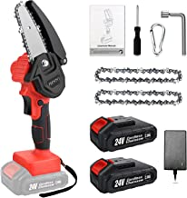 Sponsored Ad – Mini Electric Chainsaw Cordless 4 Inch, Upgraded 24V Battery Powered Chain Saws with Safety Button, 2pc Bat...