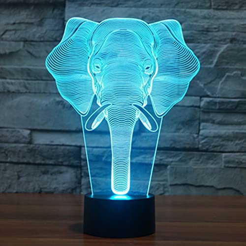 Elephant 3D Illusion Lamp YKL WORLD LED Night Light Touch Switch 7 Color Changing Table
