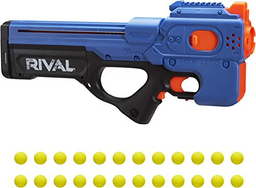 new arrival NERF Rival Charger MXX-1200 Motorized Blaster -- 12-Round Capacity, 100 FPS Velocity -- Includes 24 Official Rival outlet sale Rounds discount -- Team Blue sale