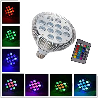 RAYWAY Par38 RGB LED Spotlight 12W Dimmable 16 Color Changing Light E27 with IR Remote Controller